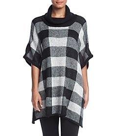 Relativity® Check Pattern Cowlneck Poncho Sweater