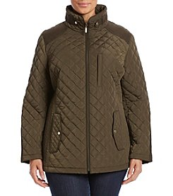 Gallery® Plus Size Faux Suede Trim Quilted Jacket