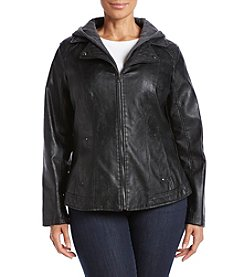 Giacca® Plus Size Scuba Faux Leather Jacket