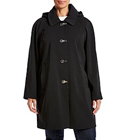 London Fog® Plus Size A-Line Hooded Clip Coat