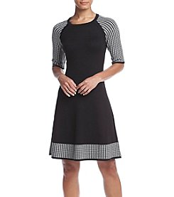 Jessica Howard® Houndstooth Trim Fit And Flare Dress