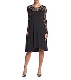 Lennie Lace Neck Trapeze Dress