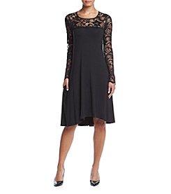 Lennie Lace Neck Trapeze Dress