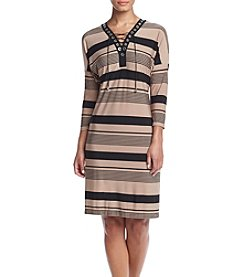 Madison Leigh® Lace Up Neck Striped Dress