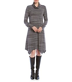 Madison Leigh Long Sleeve Space Dye Cowl Neck Dress