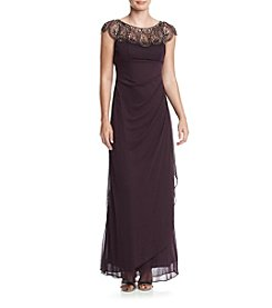 Xscape Beaded Illusion Neckline Gown