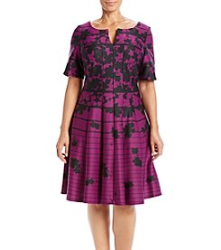 Gabby Skye® Plus Size Floral Stripe Dress