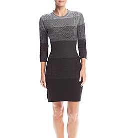 Calvin Klein 3/4 Sleeve Striped Sweater Dress