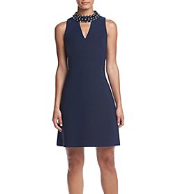 Taylor Dresses Jeweled Neck Shift Dress