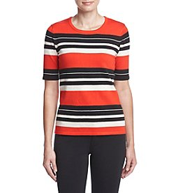 Jones New York® Graphic Stripe Pullover Sweater