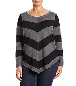 AGB® Plus Size Chevron Stripe Tunic Sweater