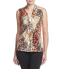 Relativity® Printed V-neck Tank Top