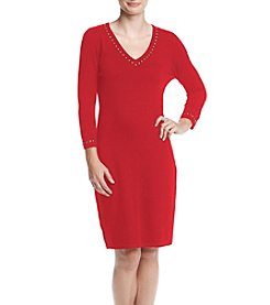 Calvin Klein V-Neck Stud Trim Sweater Dress