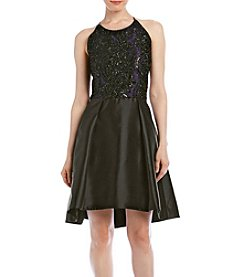 Taylor Dresses Sequin Bodice Fit And Flare Dress
