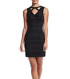 GUESS Sleeveless Cutout Rhinestone Neck Dress