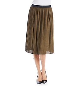 Ruff Hewn GREY Pleated Metallic Skirt
