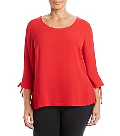 Relativity® Plus Size High-Low Lace Up Sleeve Top