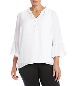 Relativity® Plus Size Solid Bell Sleeve Henley Top