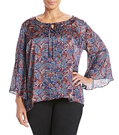 Relativity® Plus Size Paisley Printed Bell Sleeve Peasant Top