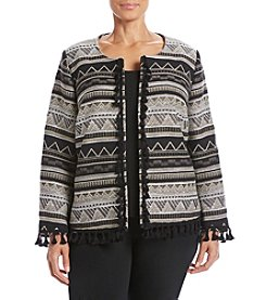 Relativity® Plus Size Printed Blanket Jacket