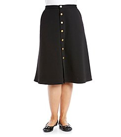 Relativity Plus Size Button Front Skirt