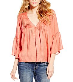 Jessica Simpson Solid Skip Peasant Top