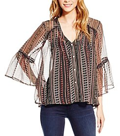 Jessica Simpson Linear Printed Skip Peasant Top