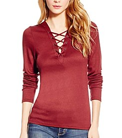 Jessica Simpson Eda Lace-Up Ribbed Top