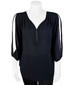 A. Byer Plus Size Zip Neck Cold Shoulder Top