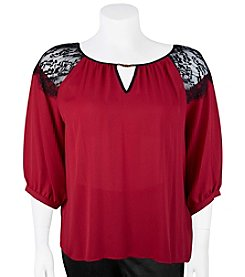 A. Byer Plus Size Lace Shoulder Peasant Top