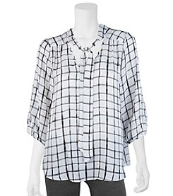 A. Byer Grid Print Tie Neck Top