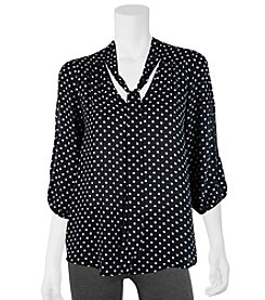 A. Byer Dot Print Tie Neck Top