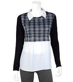 A. Byer Twofer Solid Top With Plaid Sweater Overlay