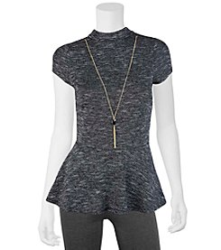 A. Byer Spacedye Peplum Top With Necklace