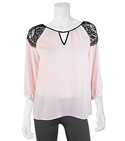 A. Byer Lace Shoulder Peasant Top