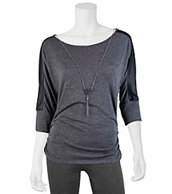 A. Byer Faux Leather Trim Top With Necklace