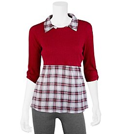 A. Byer Twofer Plaid Top With Solid Sweater Overlay