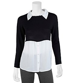 A. Byer Twofer Solid Top With Solid Sweater Overlay