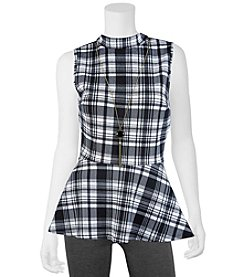 A. Byer Plaid Print Peplum Top With Necklace
