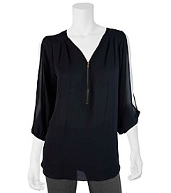 A. Byer Zip Front Cold Shoulder Top