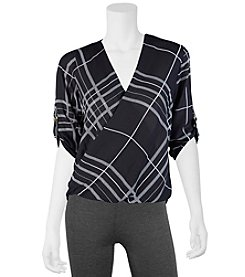 A. Byer Plaid Print Wrap Front Top