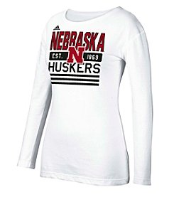 adidas® NCAA® University Of Nebraska Women's Bottom Stripe Stack Tee