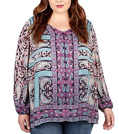 Lucky Brand® Plus Size Moroccan Border Print Top