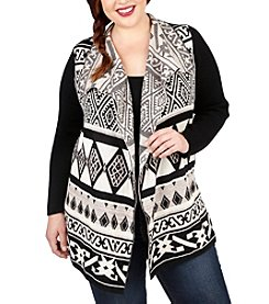 Lucky Brand® Plus Size Mixed Geo Print Cardigan