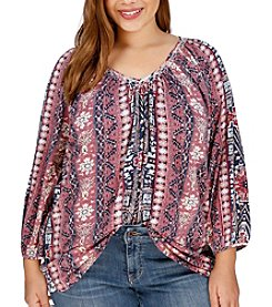 Lucky Brand® Plus Size Mixed Print Top