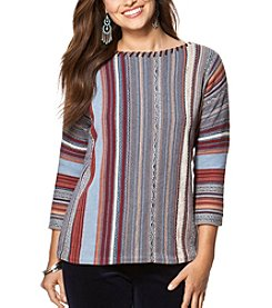 Chaps® Striped Fair Isle Sweater