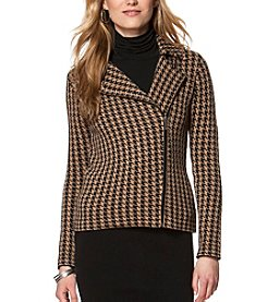 Chaps® Houndstooth Cotton Sweater Jacket