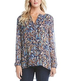 Karen Kane® Paisley Split Placket Blouse