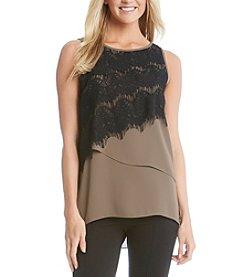 Karen Kane® Asymmetrical Lace Overlay Top