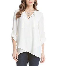 Karen Kane® Lace Up Blouse
